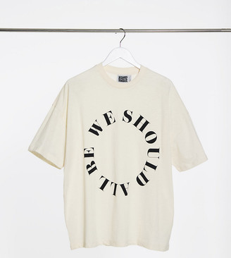 Reclaimed Vintage inspired unisex t-shirt with circular logo print in ecru
