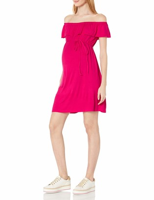 Three Seasons Maternity Women's Maternity Off-The-Shoulder Solid Dress