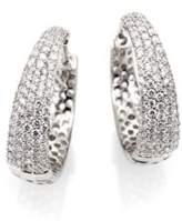 Roberto Coin Scalare Diamond & 18K White Gold Hoop Earrings/0.75""