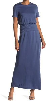 One One Six Short Sleeve Smocked Waist Maxi Dress