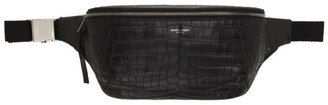 Saint Laurent Black Croc Marsupio Pouch