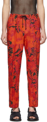 Dries Van Noten Red and Black Floral Drawstring Trousers