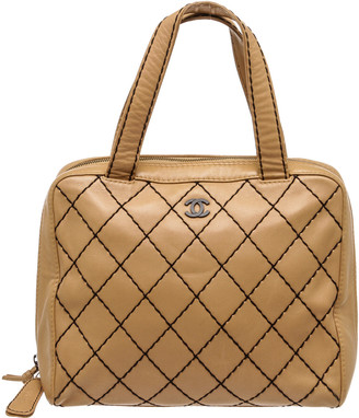Chanel Beige Quilted Calfskin Leather Tote