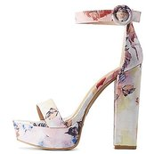 Charlotte Russe Bamboo Floral Two-Piece Platform Sandals