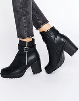 Blink Soft Leather Look Zip Heel Boot