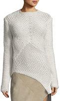 Narciso Rodriguez Asymmetric-Hem Cashmere Sweater, White