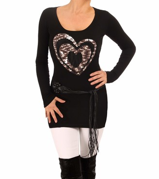Blue Banana Sequin Heart Motif Jumper Black and Silver Grey Size 18