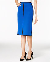 Kasper Stretch-Crepe Contrast Piped Pencil Skirt