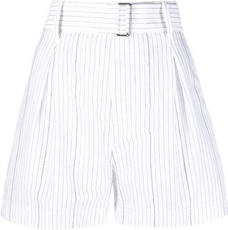 No.21 Pinstriped Belted Shorts