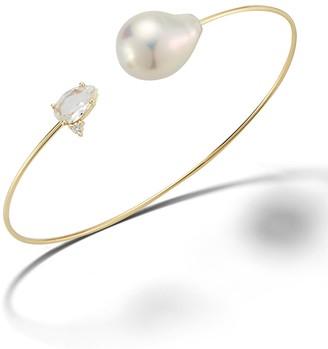 Mizuki White Topaz Horizon, White Freshwater Pearl and Diamond Cuff Bracelet