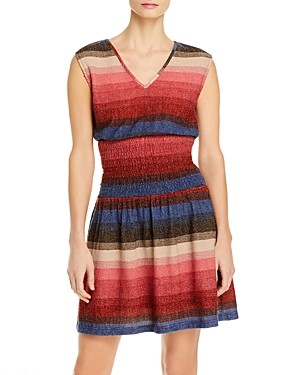 Aqua Multi Stripe Smocked Sleeveless Fit & Flare Dress - 100% Exclusive