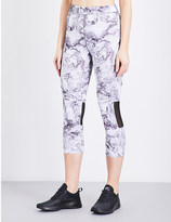 French Connection Comfort cropped marble-print stretch-jersey leggings