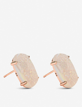 Kendra Scott Betty 14ct rose gold-plated and iridescent drusy earrings