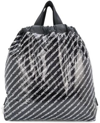 Diesel Logo-Print High-Shine Drawstring Backpack