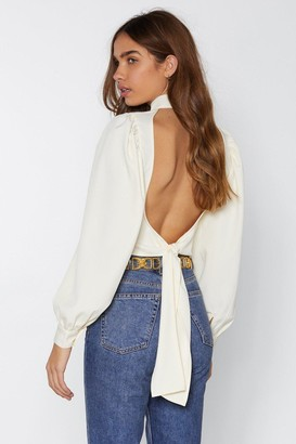 Nasty Gal Womens Be Right Back Tie Blouse - Cream