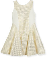 Zoë Ltd Lexie Sleeveless Netted Mesh Fit-and-Flare Dress, Gold, Size 7-16