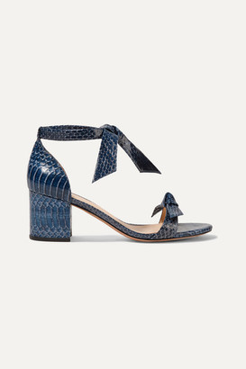 Alexandre Birman Clarita Bow-embellished Watersnake Sandals - Cobalt blue