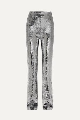 16Arlington Sequined Crepe Straight-leg Pants - Silver