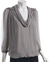 Thumbnail for your product : Hannah Joe smoke silk chiffon cowl neck beaded shoulder blouse