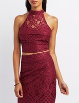 Charlotte Russe Lace Mock Neck Crop Top