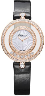 Chopard Rose Gold and Diamond Happy Diamonds Watch 32mm