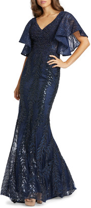 Mac Duggal Sequined Lace V-Neck Angel-Sleeve Gown