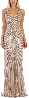 Royal Queen Women's Special Occasion Dresses Taupe - Taupe Sequin Stripe Cross-Back Gown & Shawl - Women