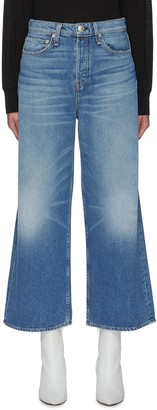 Rag & Bone/JEAN 'Maya' Crop Wide Leg Whiskered Denim Jeans
