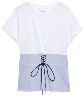3.1 Phillip Lim Lace-up Striped Cotton-poplin And Jersey T-shirt