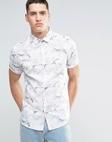 Asos Camo Shirt In Gray With Short Sleeves In Regular Fit