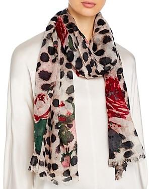 Bloomingdale's Animal & Rose Print Wool Scarf - 100% Exclusive