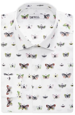 Bar III Men's Slim-Fit Performance Stretch Butterfly-Print Dress Shirt, Created for Macy's