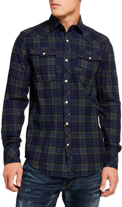 G Star Men's Slim-Fit Check Sport Shirt