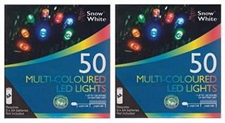 2 x Snow White Battery Powered LED Christmas Fairy Lights 4.9M 50 Lights MultiColour