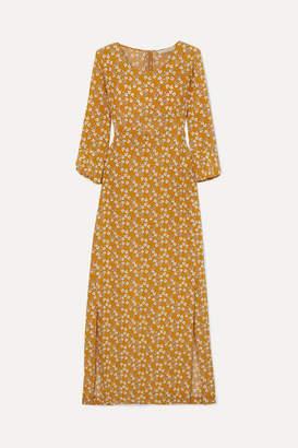 Vanessa Bruno Loreva Floral-print Silk Crepe De Chine Midi Dress - Yellow