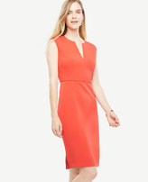 Ann Taylor Cap Sleeve Split Neck Sheath Dress