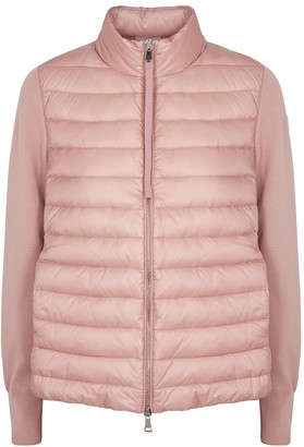 Moncler Pink Quilted Shell And Wool Jacket