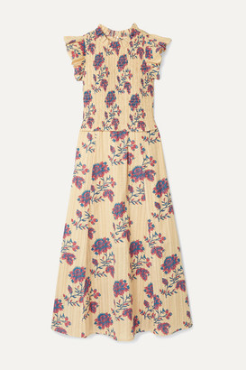 Sea Odette Shirred Floral-print Cotton Midi Dress - Cream