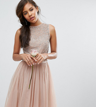 Maya Tall Sleeveless Sequin Top Midi Dress With Tulle Skirt And Bow Back Detail