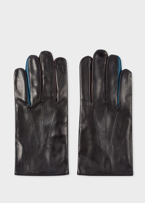 Paul Smith Men's Black Lamb Leather Concertina Gloves