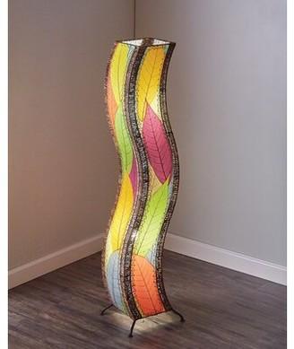 "Ebern Designs Quintan Wave 48"" Novelty Floor Lamp Ebern Designs Shade Color: Green/Blue"