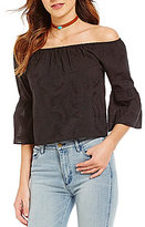 Buffalo David Bitton Feather Faye Embroidered Off-the-Shoulder Blouse