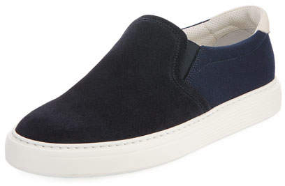 Brunello Cucinelli Suede and Canvas Slip-On Sneaker