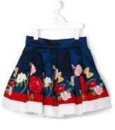 MonnaLisa floral logo embroidered skirt - kids - Cotton/Polyamide/Polyester/Acetate - 4 yrs