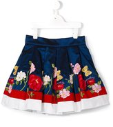 MonnaLisa floral logo embroidered skirt - kids - Cotton/Polyamide/Polyester/Acetate - 5 yrs
