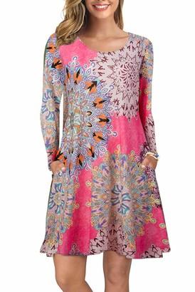 Bequemer Laden Women's Long Sleeve Winter Casual T-Shirt Dress Round Neck Loose Pockets Dress