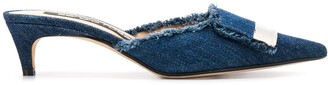 Sergio Rossi Frayed Denim Mules