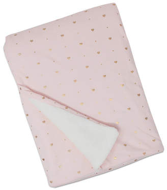Living Textiles Metallic Heart Print Jersey and Sherpa Baby Blanket Bedding