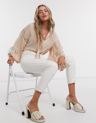 Topshop satin tie front blouse in pearl