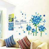 Wall sticker MiniWall MiniWall Wall Paintings Sticker Sofa Background Wall Decorations Dream Blue Floral Bouquets Creative Home Flowers Decals,193*80Cm